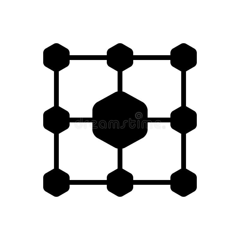 Czarna stała ikona dla struktury, architektury i struktury sieci, ilustracji