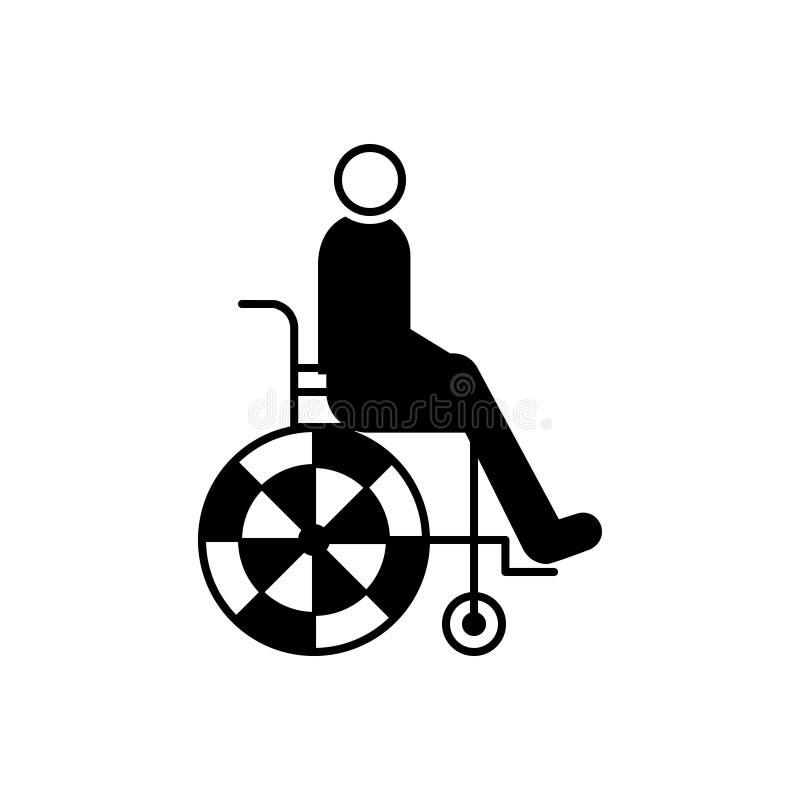 Czarna stała ikona dla wózka inwalidzkiego, osoby i foru, ilustracji