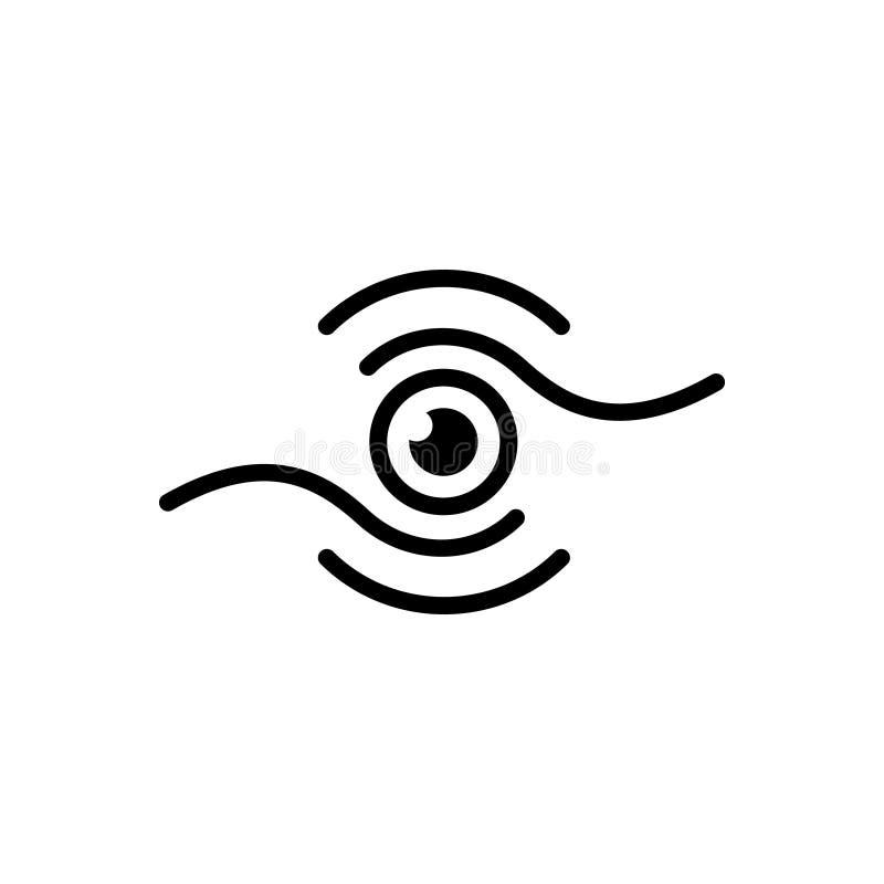 Czarna stała ikona dla wzroku, wzroku i spojrzenia, ilustracja wektor