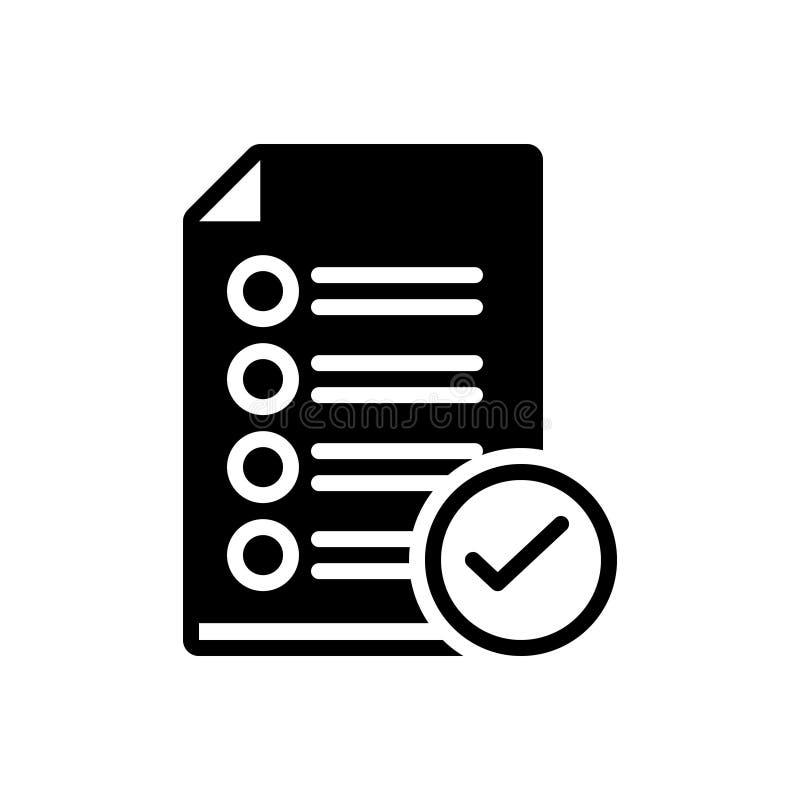 Czarna stała ikona dla Zatwierdzam, akceptuje i zatwierdzenie ilustracji
