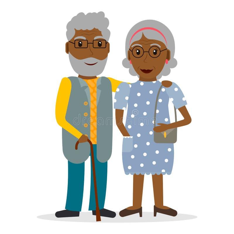 Czarna stara para w mieszkanie stylu ilustracji