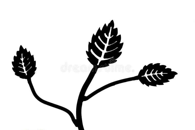 Czarna sylwetka dotykająca gałąź z liśćmi ilustracja wektor