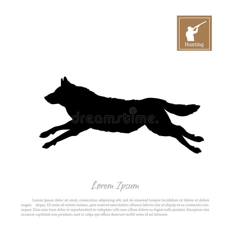 Czarna sylwetka działający wilk na białym tle Lasowi zwierzęta royalty ilustracja