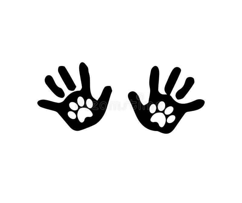 Czarna sylwetka dziecko ręki druki z zwierzęcym pawprints insid ilustracja wektor