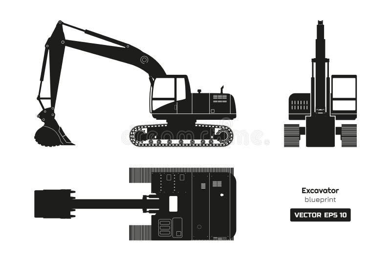 Czarna sylwetka ekskawator Wierzchołka, bocznego i frontowego widok, Dieslowski czerparka projekt Hydrauliczny maszyneria wizerun royalty ilustracja