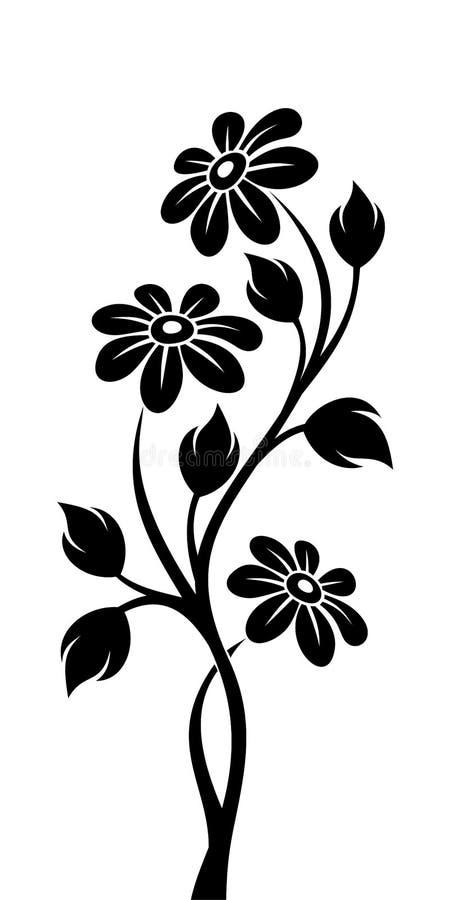 Czarna sylwetka gałąź z kwiatami royalty ilustracja
