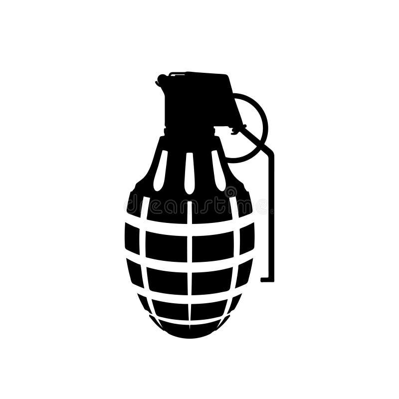 Czarna sylwetka granat ręczny Wojsko środek wybuchowy Broni ikona Wojskowy odizolowywający protestuje ilustracji
