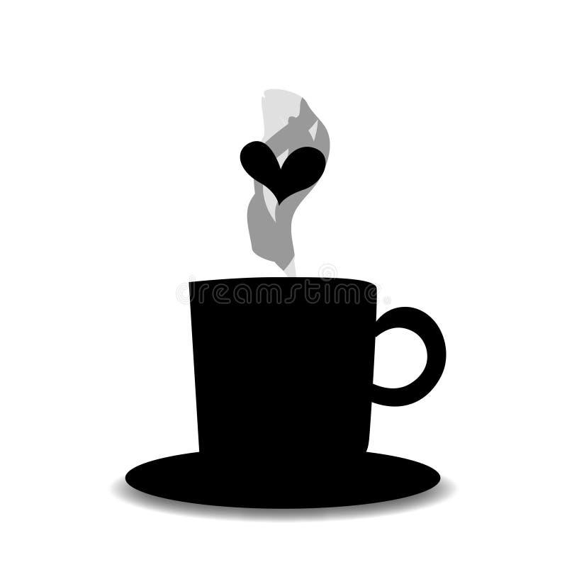 Czarna sylwetka herbata lub filiżanka z kontrparą i sercem royalty ilustracja