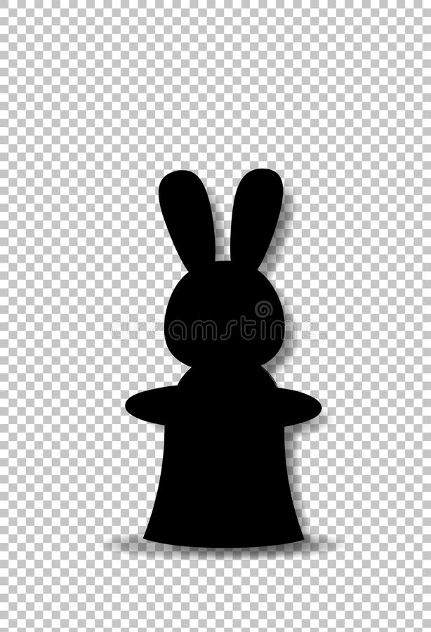 Czarna sylwetka królika obsiadanie w magicznej butli odgórnym kapeluszu ilustracja wektor