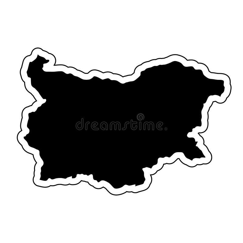Czarna sylwetka kraj Bułgaria z konturową linią o ilustracja wektor