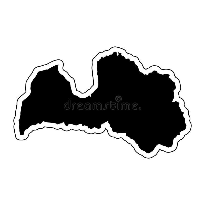 Czarna sylwetka kraj Latvia z konturową linią ef ilustracji