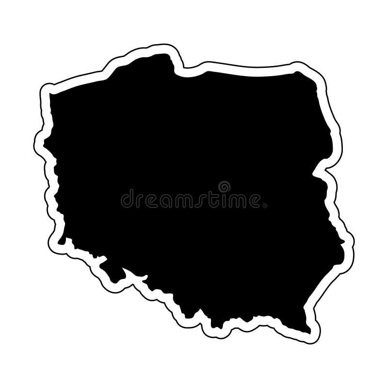 Czarna sylwetka kraj Polska z konturową linią ef ilustracji