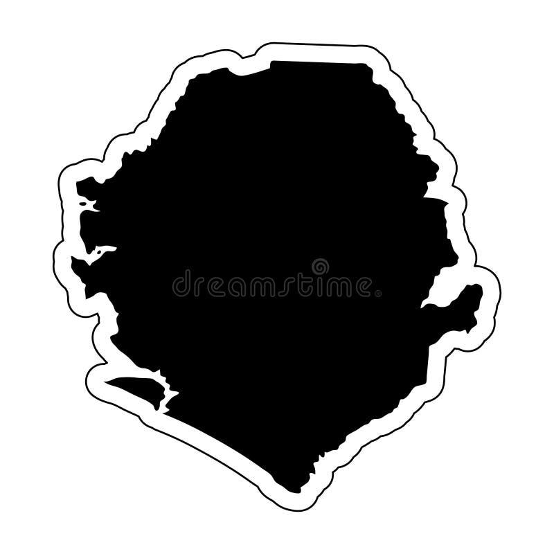 Czarna sylwetka kraj Sierra Leone z konturowym li ilustracji