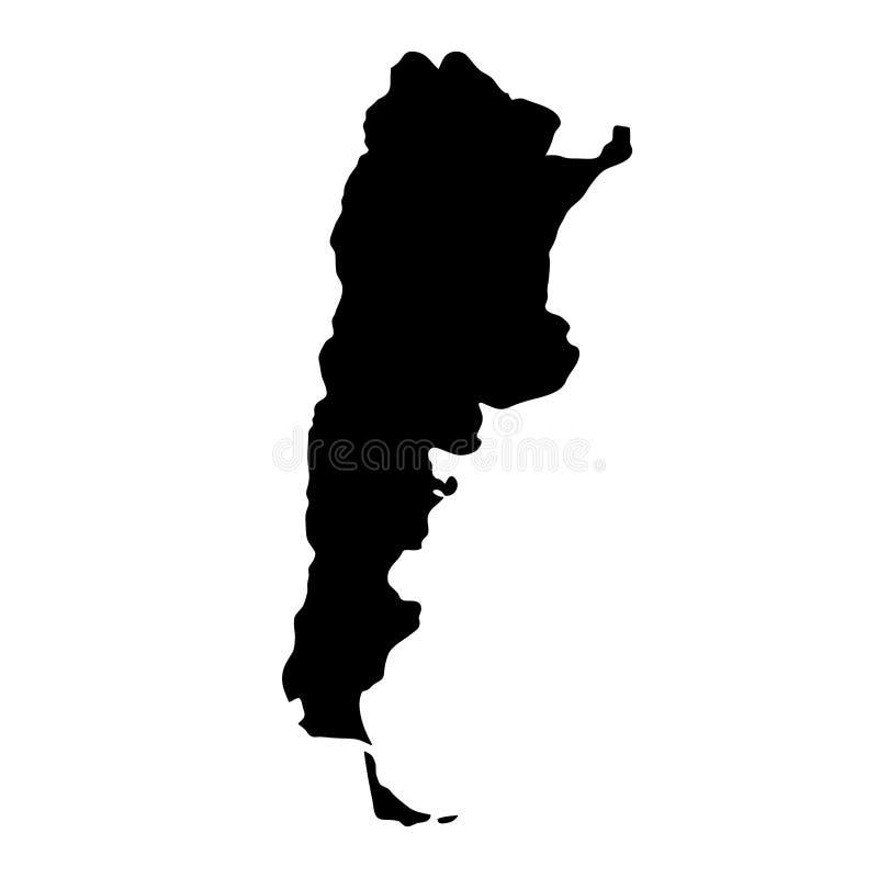 Czarna sylwetka kraju granic mapa Argentyna na białym backg ilustracja wektor