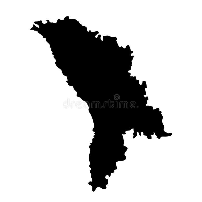 Czarna sylwetka kraju granic mapa Moldavia na białym backgr ilustracja wektor