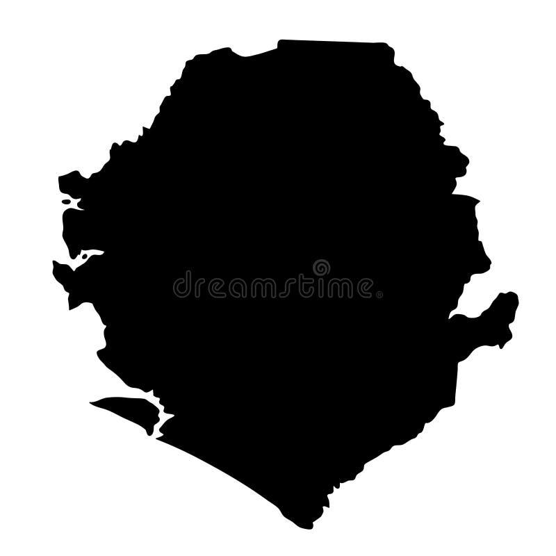Czarna sylwetka kraju granic mapa Sierra Leone na białych półdupkach ilustracja wektor