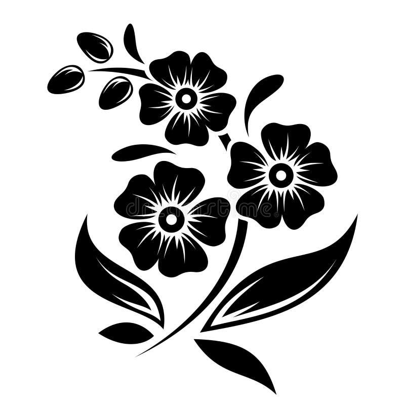 Czarna sylwetka kwiaty. Wektorowa ilustracja. royalty ilustracja