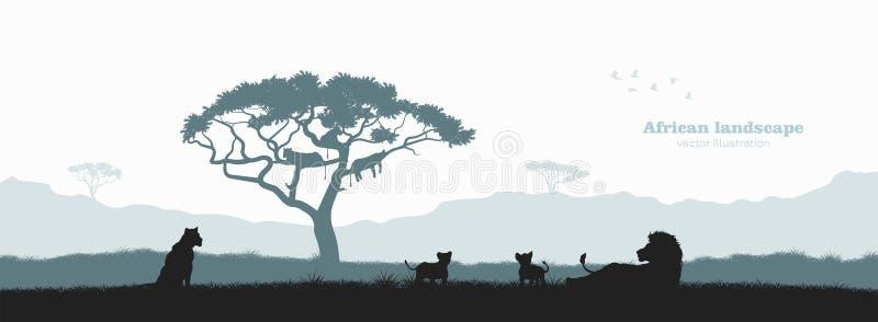 Czarna sylwetka lew duma Krajobraz z dzikimi afrykańskimi zwierzętami Scena sawanny przyroda Podróż plakat Afryka royalty ilustracja