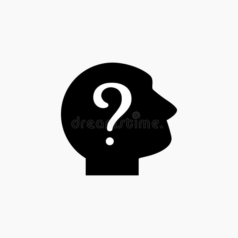 Czarna sylwetka mężczyzna ` s głowa z białym znakiem zapytania Użytkownika avatar piktogram Niewiadoma osoby ikona royalty ilustracja