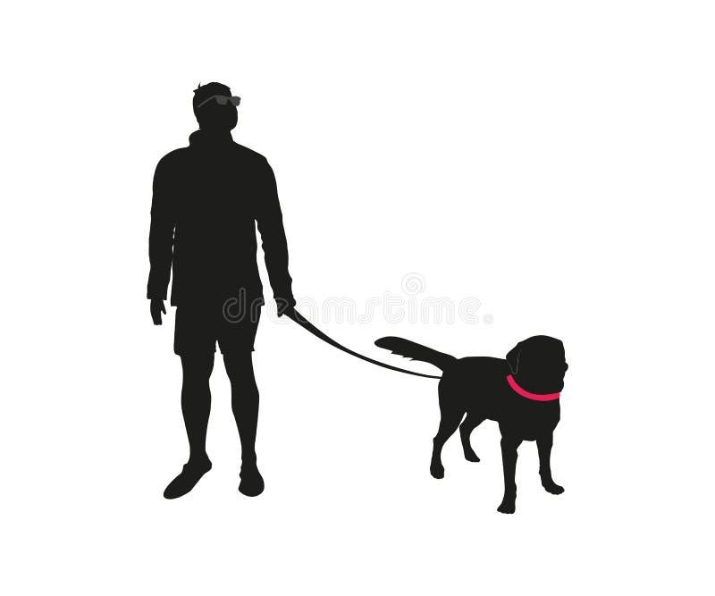 Czarna sylwetka mężczyzna z psem royalty ilustracja