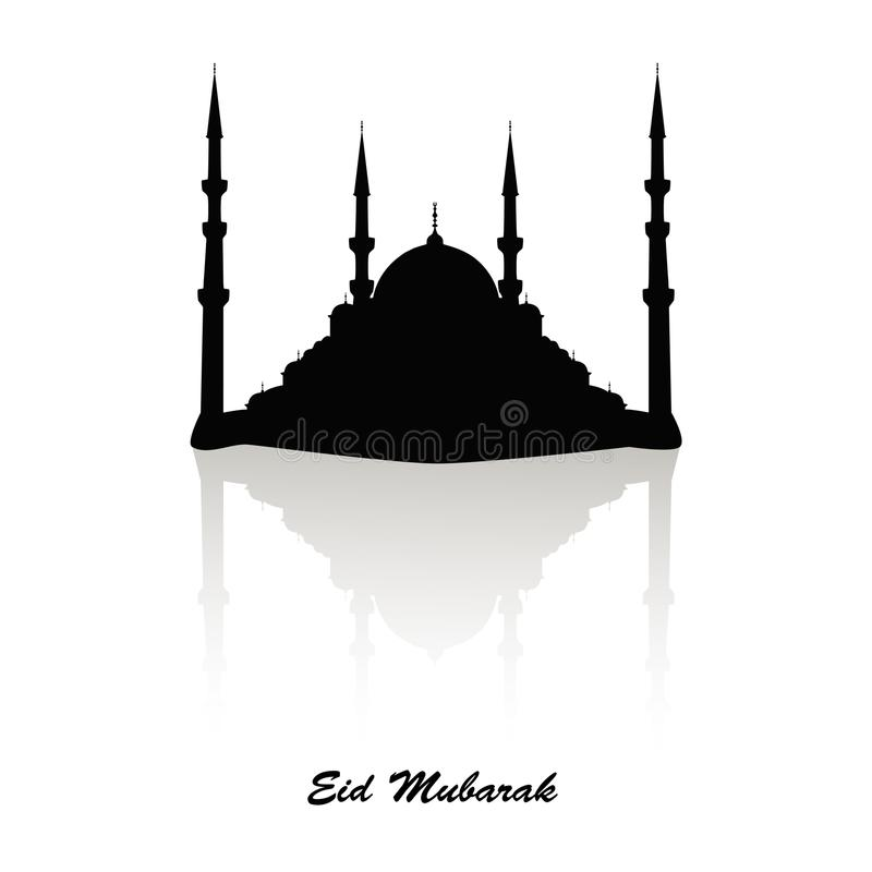 Czarna sylwetka meczet z odbicia powitania i skutka czarnym tekstem Eid Mosul, kartka z pozdrowieniami, muzułmański ilustracja wektor