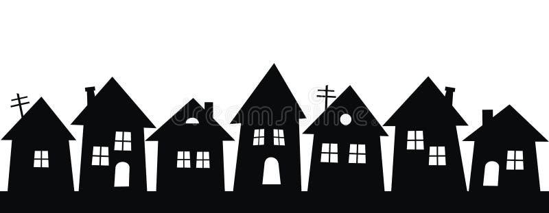 Czarna sylwetka miasto, grupa domy, wektorowa ikona ilustracja wektor