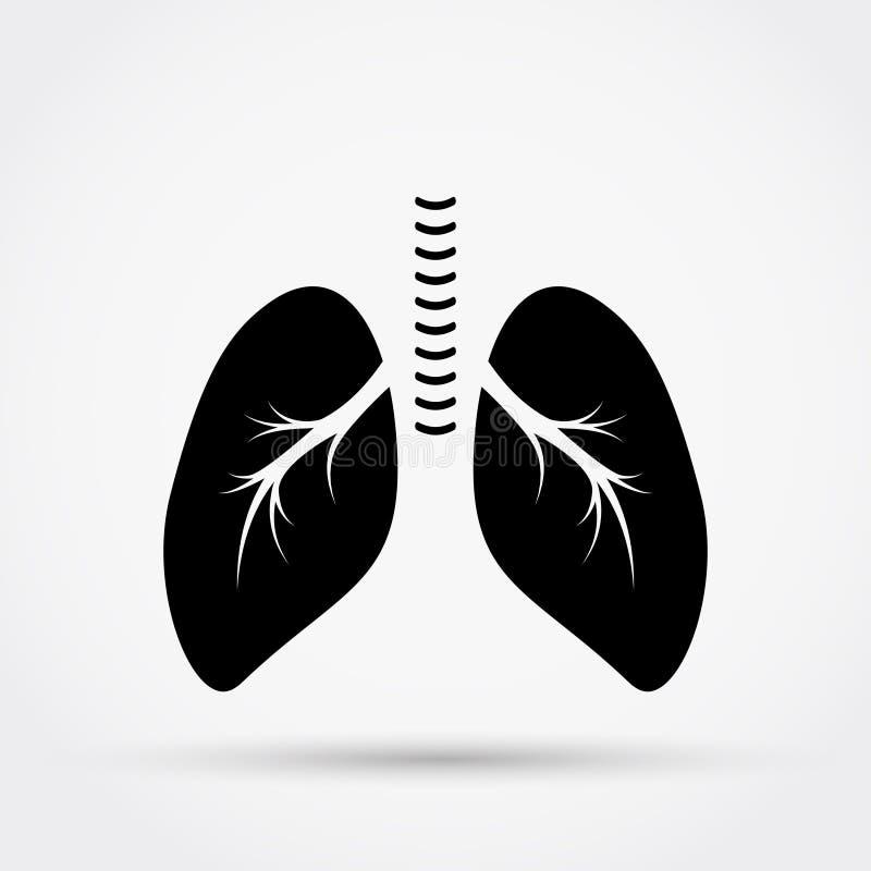 Czarna sylwetka płuca royalty ilustracja
