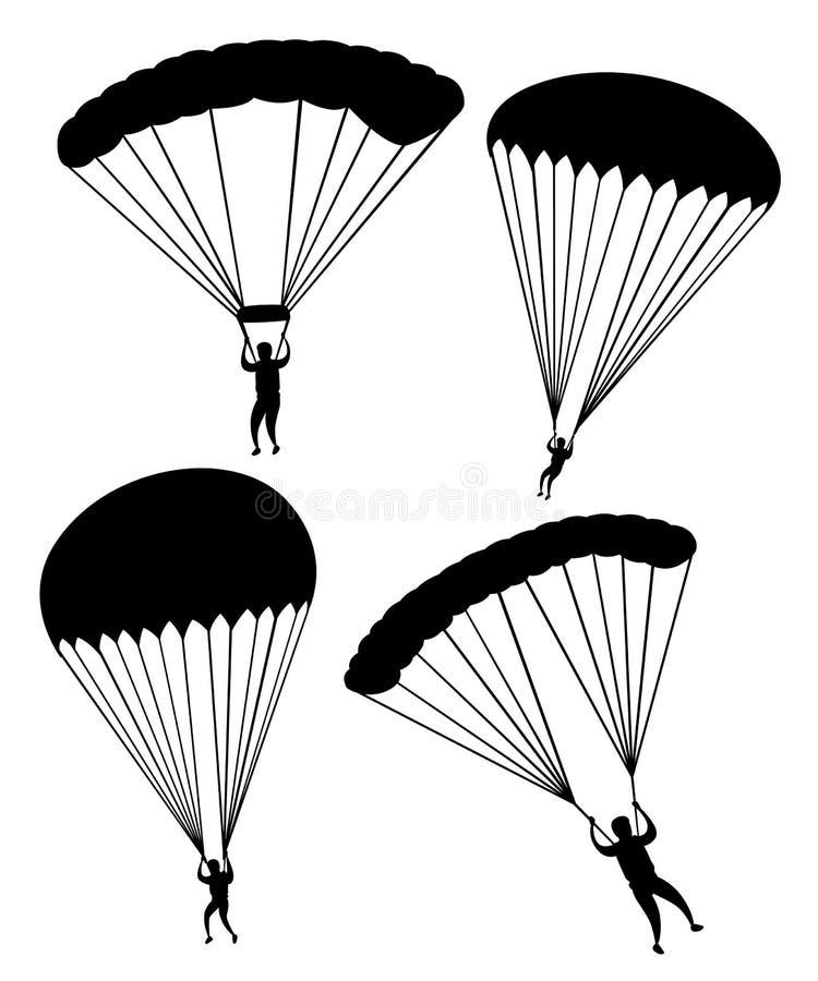 czarna sylwetka Parachutist w locie Set skydivers Płaska Wektorowa ilustracja Odizolowywająca na Białym tle ilustracji