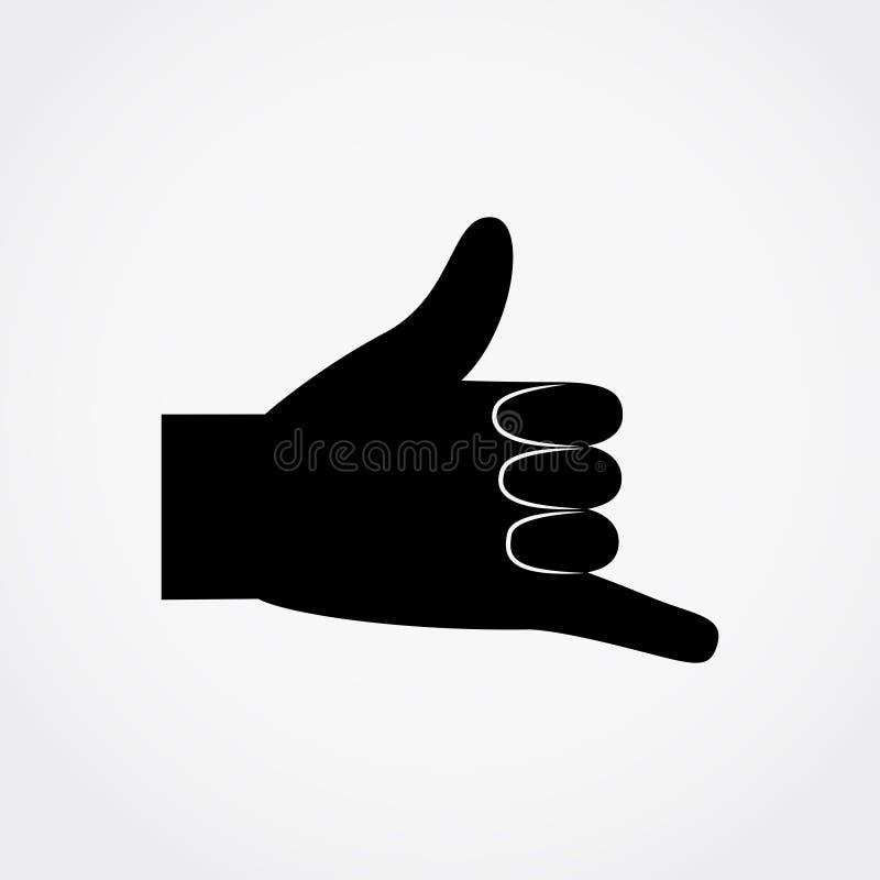 Czarna sylwetka ręka gesta wezwanie JA ilustracji