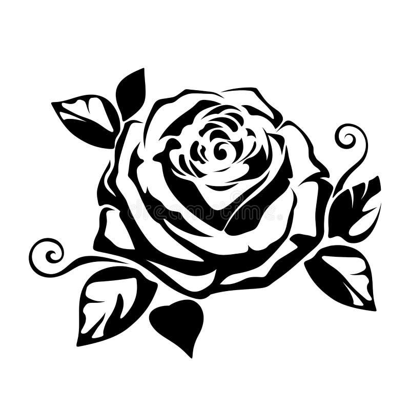 Czarna sylwetka róża również zwrócić corel ilustracji wektora royalty ilustracja