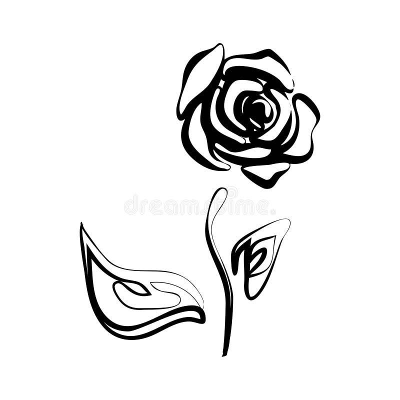 Czarna sylwetka różana wektorowa ilustracja eps 10 ilustracji