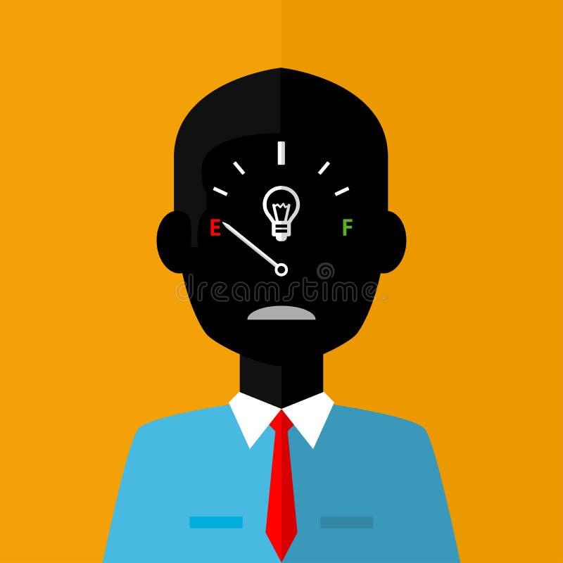 Czarna sylwetka smutny biznesmen z niską twórczości gage pojęcia ikoną na twarzy na pomarańczowym tle royalty ilustracja