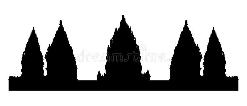 Czarna sylwetka stara Prambanan hinduska świątynia ilustracja wektor