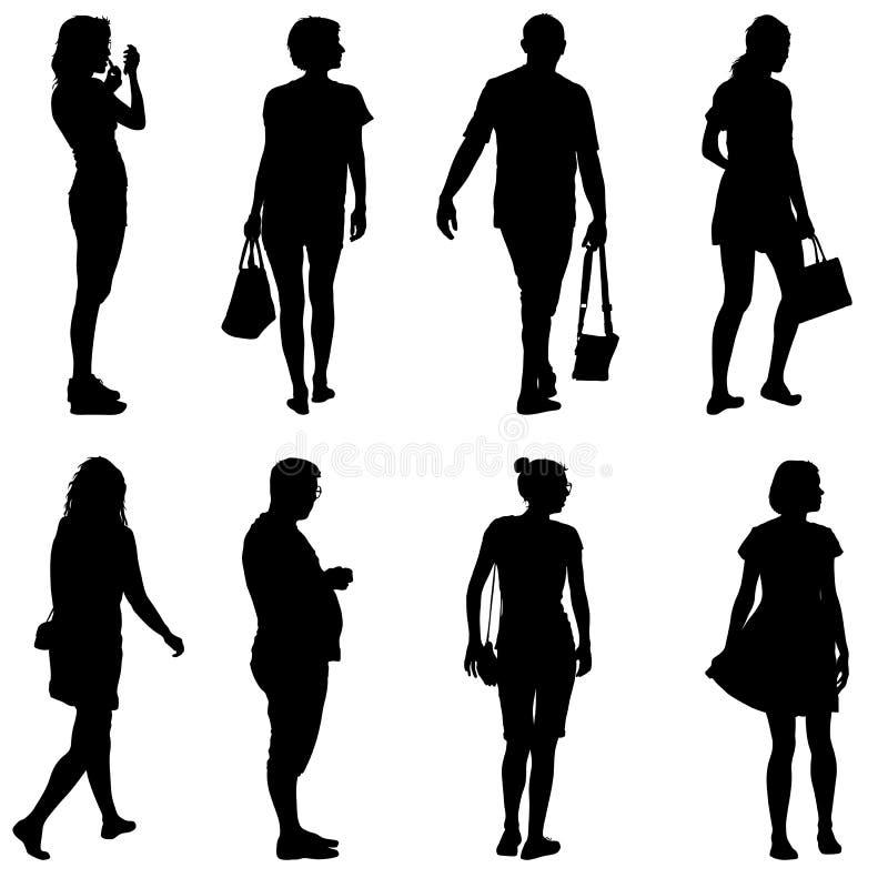 Czarna sylwetki grupy ludzi pozycja w różnorodnych pozach ilustracja wektor