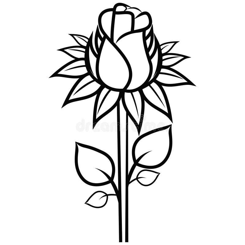 Czarna sylwetki róża odizolowywająca na białym wektorze royalty ilustracja