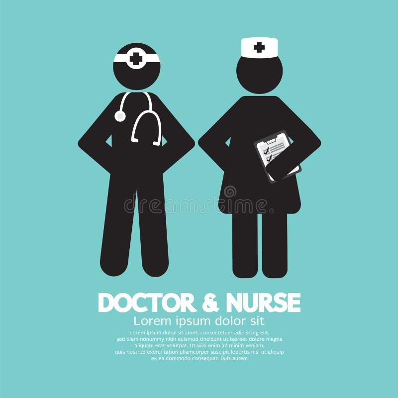 Czarna symbol pielęgniarka I lekarka royalty ilustracja