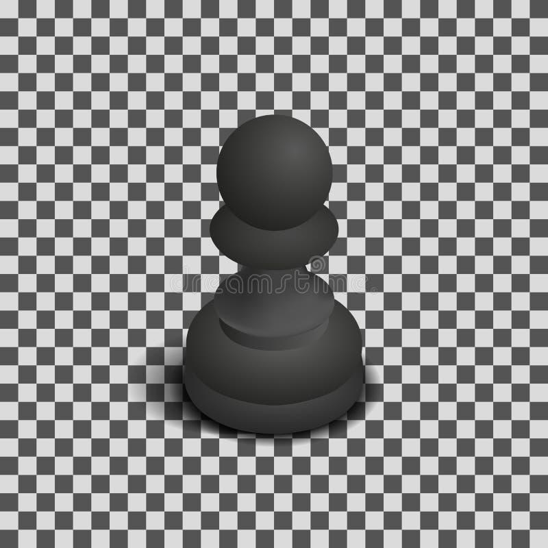 Czarna szachowa kawałek isometric, wektorowa ilustracja zastawnicza, royalty ilustracja