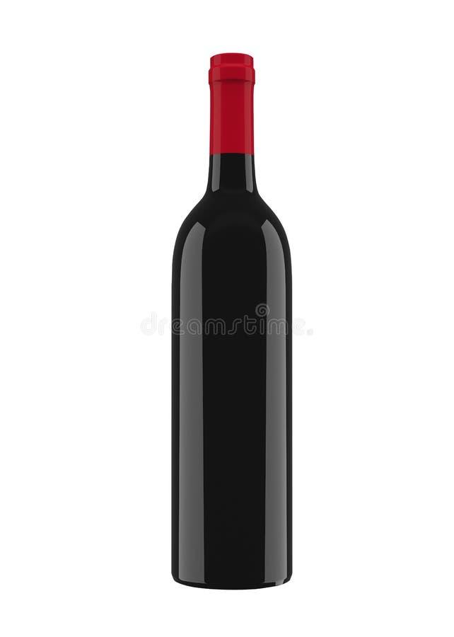 Czarna szklana butelka dla czerwonego wina odizolowywającego na białym tle 3D rendering, 3D ilustracja ilustracji