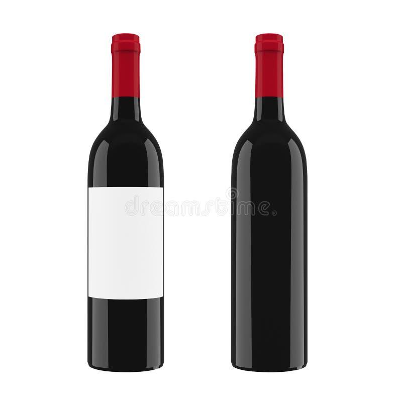 Czarna szklana butelka dla czerwonego wina odizolowywającego na białym tle 3D rendering, 3D ilustracja ilustracja wektor