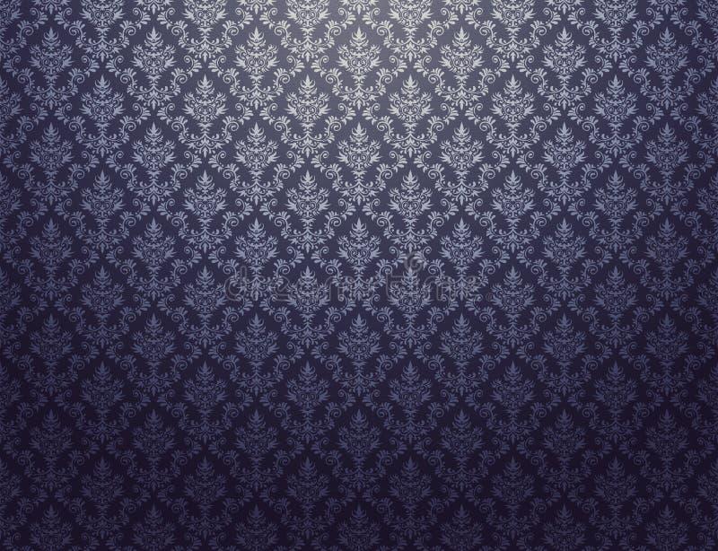 Czarna tapeta z srebro adamaszka wzorem royalty ilustracja