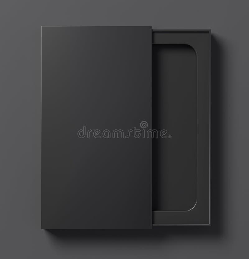 Czarna telefonu pudełka szablonu połówka otwarta - 3D ilustracja royalty ilustracja