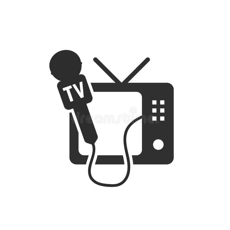 Czarna tv i mikrofonu ikona ilustracji