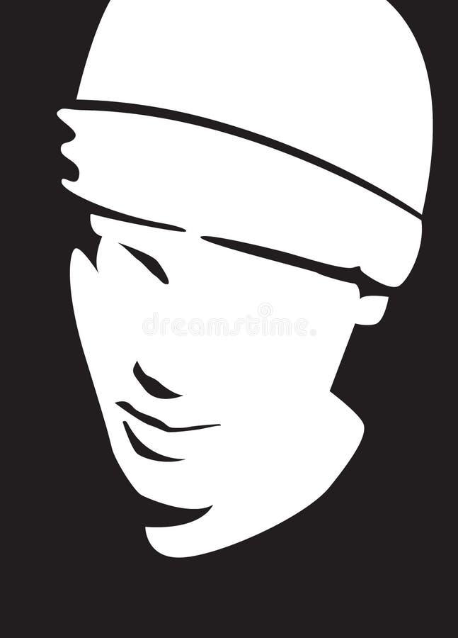 czarna twarz white royalty ilustracja
