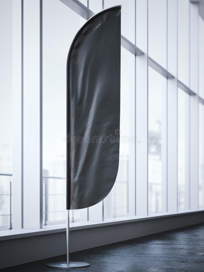 Czarna vertical wiatru sztandaru pozycja świadczenia 3 d ilustracja wektor