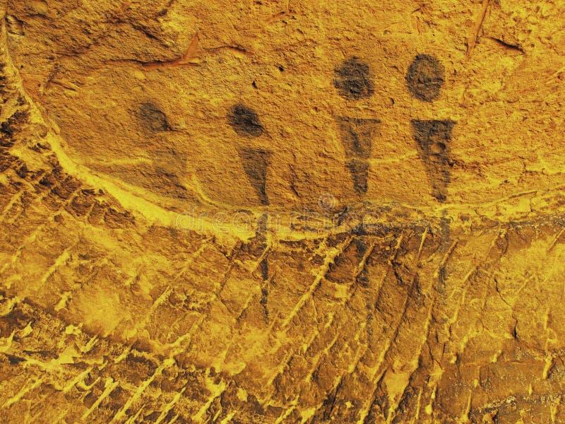Czarna węgiel farba ludzki polowanie na piaskowiec ścianie ilustracja wektor