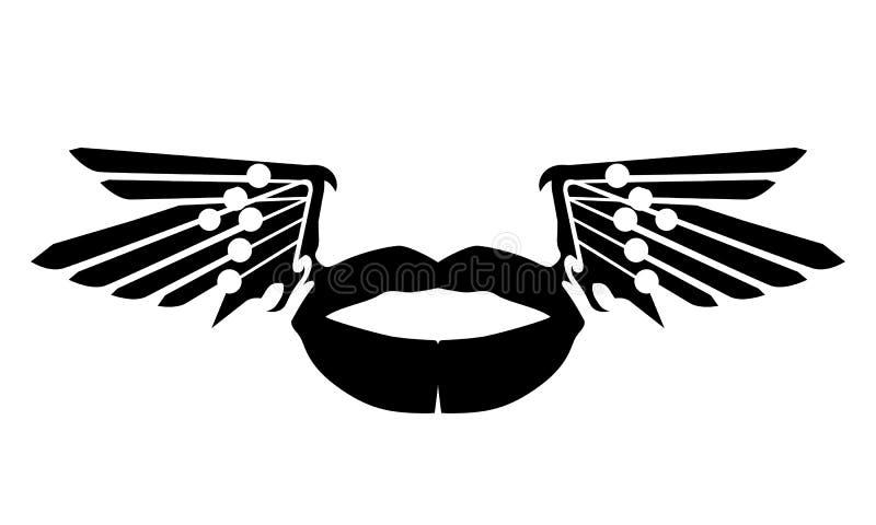 Czarna wargi sylwetka z skrzydłami Wargi ilustracja zamknięta w górę odosobnionego Latający buziak miłość Eps10 royalty ilustracja