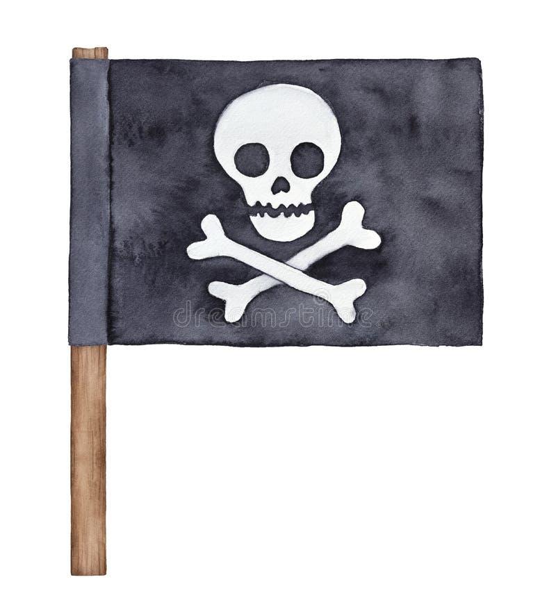 Czarna watercolour pirata flaga z czaszką i crossbones sylwetką royalty ilustracja