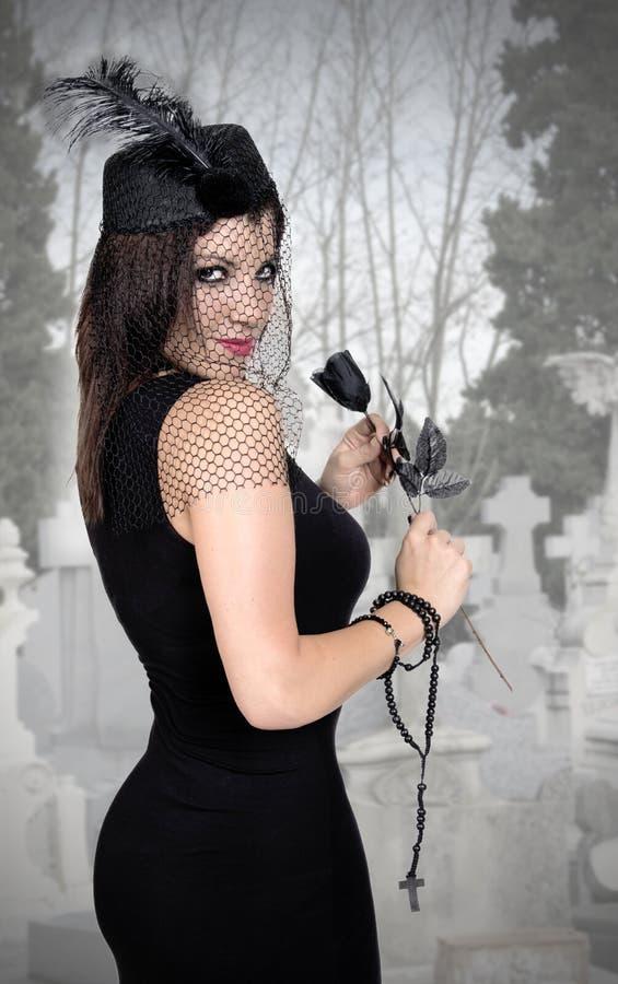 Czarna wdowa z przesłoną fotografia royalty free