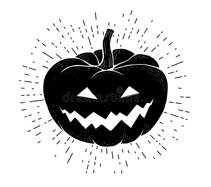 Czarna wektorowa dyniowa sylwetka z gniewną uśmiechniętą twarzą Wektorowy Halloween rocznika stylu druk odizolowywający na bielu ilustracja wektor