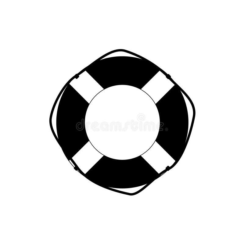 Czarna wektorowa ikona, płaski projekt Lifebuoy ilustracja wektor